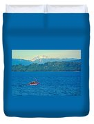 Boat On Llanquihue Lake From Puerto Varas-chile Duvet Cover
