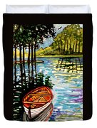Boat On The Bayou Duvet Cover
