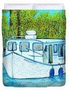 Boat On The River Duvet Cover