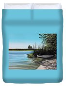 Boat On The Shadowed Beach Duvet Cover