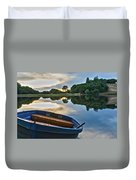Boat On The Shore Of A Lake  Duvet Cover