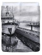 Boat On Waterfront Marina Kirkland Washington Duvet Cover