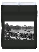 Boat Races In Central Park Duvet Cover