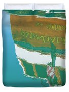Boat Reflection In Water  Duvet Cover