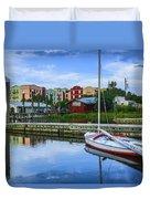 Boat Reflections Of Fernandina Beach Duvet Cover