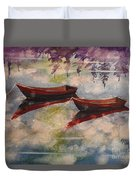 Boat Reflections Watercolor Painting Duvet Cover