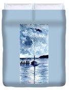 Boat Scene - Blue Sky Duvet Cover