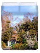 Boat Shed On The Waikato River Duvet Cover