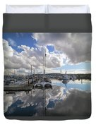 Boat Slips At Anacortes Cap Sante Marina In Washington State Duvet Cover