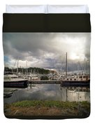Boat Slips At Anacortes Marina In Washington State Duvet Cover