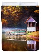 Boathouse In Autumn Oil Painting Duvet Cover