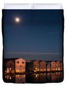 Boathouse Reflections With Moonset Duvet Cover