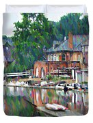 Boathouse Row In Philadelphia Duvet Cover