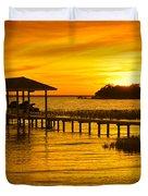 Boathouse Sunset Duvet Cover