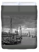 Boats And Shard And Tower Bridge Bw Duvet Cover