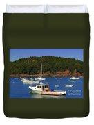 Boats At Bar Harbor Duvet Cover