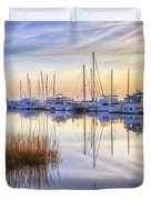 Boats At Calm Duvet Cover