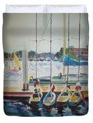 Boats At Marina Del Rey Duvet Cover