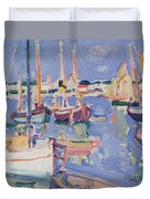 Boats At Royan Duvet Cover
