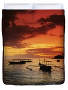 Boats At Senggigi Duvet Cover