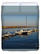 Boats At Sunset In Fuzeta Duvet Cover