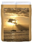 Boats At Sunset Duvet Cover