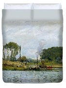 Boats At The Lock At Bougival Duvet Cover