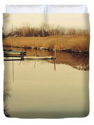 Boats At The Pier Duvet Cover