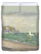 Boats Below The Cliffs At Pourville Duvet Cover by Claude Monet