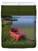 Boats By The Lake Iceland  Duvet Cover