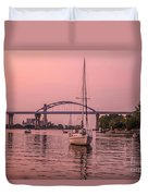 Boats Heading Out At Sunset To Watch Fireworks Duvet Cover