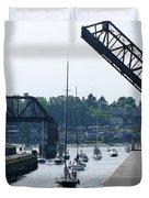 Boats In Ballard Locks Duvet Cover