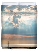 Boats In God Rays Duvet Cover