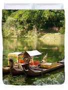 Boats In Lake Ankor Thom Duvet Cover