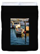 Boats In Morro Bay California Duvet Cover