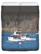 Boats In Rye Harbor Duvet Cover