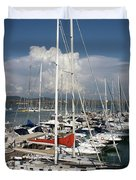 Boats In Port Tuscany Duvet Cover