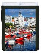 Boats In The Harbor - La Coruna Duvet Cover