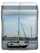 Boats In The Inlet Duvet Cover