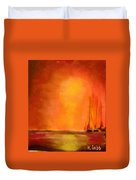 Boats In The Sunset Duvet Cover