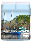 Boats In The Water Duvet Cover