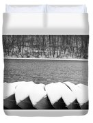 Boats - Lower Twin Lake Bw Duvet Cover