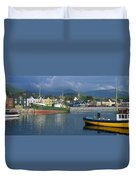 Boats Moored At A Harbor, Dingle Duvet Cover