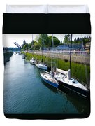 Boats Moving Into Chittenden Locks Seattle Duvet Cover