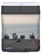 Boats On Beach Duvet Cover