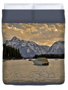 Boats On Jackson Lake At Sunset Duvet Cover