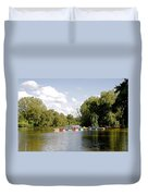 Boats On Markeaton Lake Duvet Cover