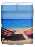 Boats On The Beach, Aguadilla, Puerto Duvet Cover