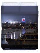 Boats On The Charles River Citgo Sign Boston Massachusetts Duvet Cover