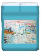 Boats On Water Monet  Duvet Cover